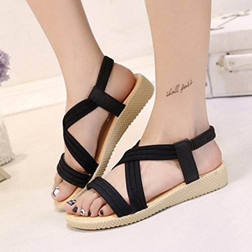 Women Toe Shoes Bandage Sandals Outdoor Elastic Leisure Peep Flat Bohemia Black ANBOO adRvwqq