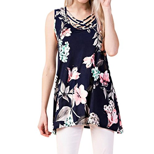 WILLTOO Sleeveless Floral Shirt, Women Bandage Front Printed Blouse Tunic Tops Long Tees