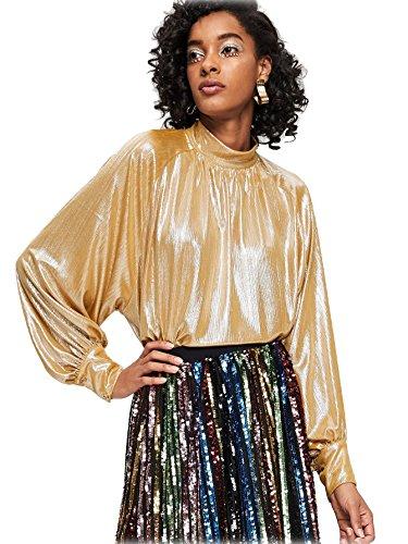 Romwe Women's Long Raglan Flounce Sleeve Oversized Sparkle Metallic Blouse Tee Top Gold -
