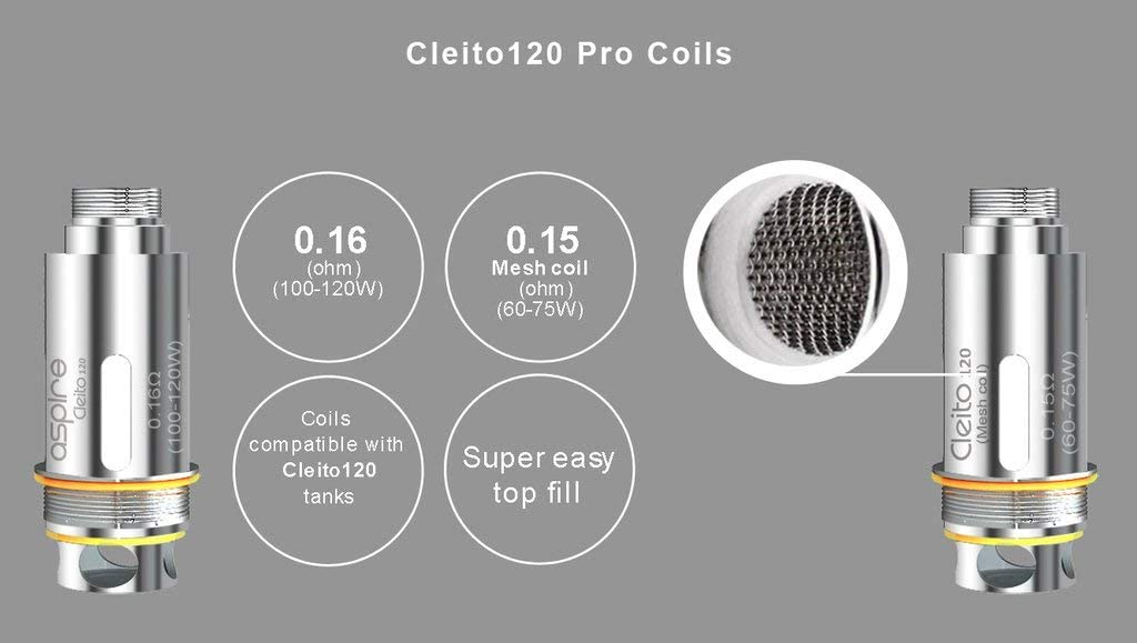 Aspire Cleito 120 Pro Tanque 2ml Sub-Ohm Clearomizer Atomizer ...