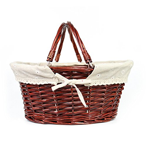 Hand Woven Oval Basket (MEIEM Easter Basket Gift Basket Oval Willow Basket with Double Drop Down Handles Wicker Woven Picnic Basket (Auburn))