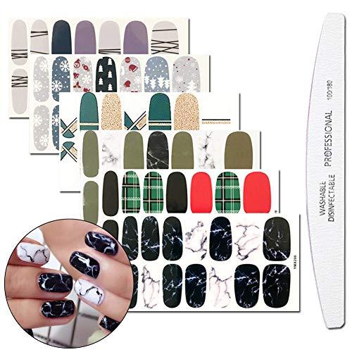 WOKOTO 6 Sheets Nail Polish Decals Stickers And 1Pcs Nail Buffer File Lines Marble Grid Pattern Full Nail Tips Stickers Nail Art Set