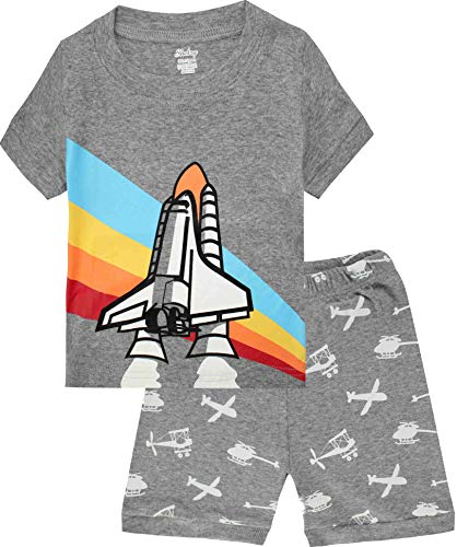 shelry Boys Pajamas Airplane Cotton Kids Clothes Short Sets Size 7Y Gray