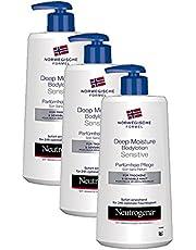 Neutrogena Norwegische Formel Deep Moisture Bodylotion Sensitive – Parfümfreie Pflege (3 x 400 ml)
