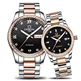 Couple Automatic Mechanical Watch Men and Women Sapphire Glass Watches Two Tone for Her or His Gift Set 2 (Rose Gold/Black)