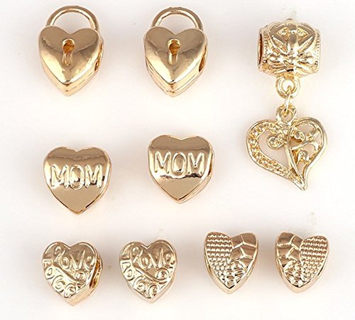 [Charm Central Premium Mixed Charms for Charm Bracelets - Heart Charms / Butterfly Charms / Cross Charms / All Charms Fit Pandora and Other Charm Bracelets (9 Charm Beads - Gold Heart Series)] (Butterfly Gold Cross)