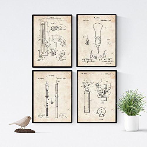 Nacnic Vintage - Pack de 4 láminas con Patentes de Equipamiento ...