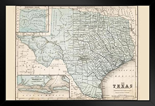 Map of Texas 1867 Antique Style Map Framed Poster 14x20 inch ()