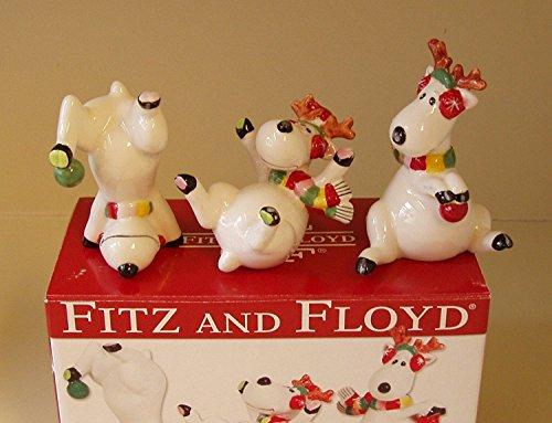(Fitz and Floyd Snowflake & Jake Reindeer Tumblers Set of 3)