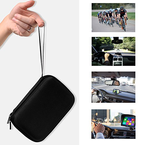 "MoKo 5-Inch GPS Carrying Case, Portable Hard Shell Protective Pouch Storage Bag for Car GPS Navigator Garmin/Tomtom/Magellan with 5"" Display - Black"