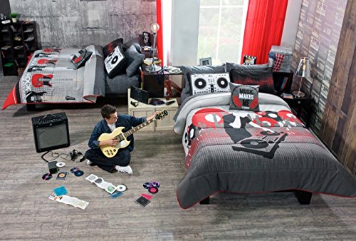 GUITAR/MUSIC TEENS BOYS PRETTY COLLECTION REVERSIBLE COMFORTER SET 4 PCS FULL/QUEEN SIZE