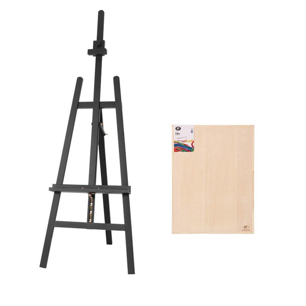 イーゼルソリッドウッドペイントシェルフドローボード付きアートイーゼルスケッチ水彩イーゼル衣類不動産ディスプレイラック (色 : 黒)  黒 B07P2LP8FR