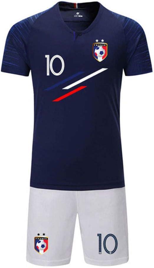 LJP FFF - Juego de camiseta de la Copa del Mundo de Fútbol de la Copa del Mundo de Francia 2018, dos estrellas con pantalones cortos, color azul, tamaño 22: Amazon.es: Hogar