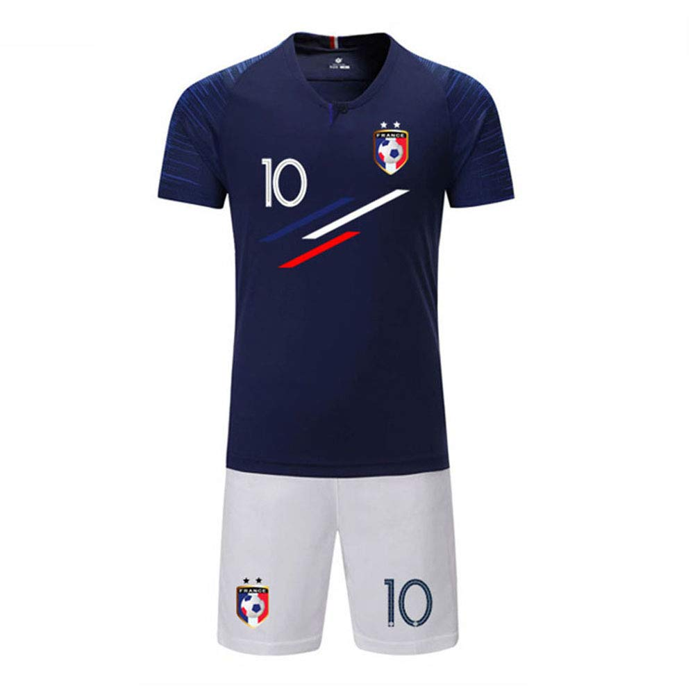 Maillot De Champion De France Football Enfant Gar/çon Coupe du Monde 2018 Deux /Étoiles Manche Courte T-Shirt