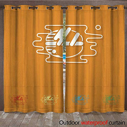 Macaroon Simple (RenteriaDecor Outdoor Ultraviolet Protective Curtains French Macaroon Cookies W84 x L108)