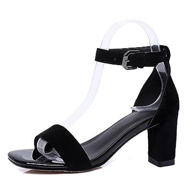 30db548dbc6 bhujfufgv Chaussures à Boucle d un Mot-Ceinture avec Bare-Toe Talon ...