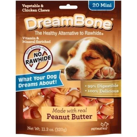 Dreambone Real Peanut Butter Flavored Vegetable & Chicken Dog Chew Treats (Rawhide Free) 11oz-12oz Bag (Bags) Select Treat Size Below by DreamBone ()