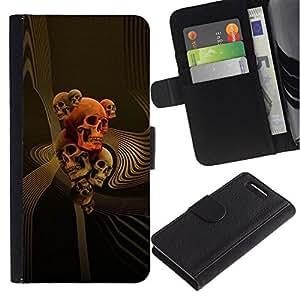 All Phone Most Case / Oferta Especial Cáscara Funda de cuero Monedero Cubierta de proteccion Caso / Wallet Case for Sony Xperia Z1 Compact D5503 // Skull Gold Red Death Abstract Vortex