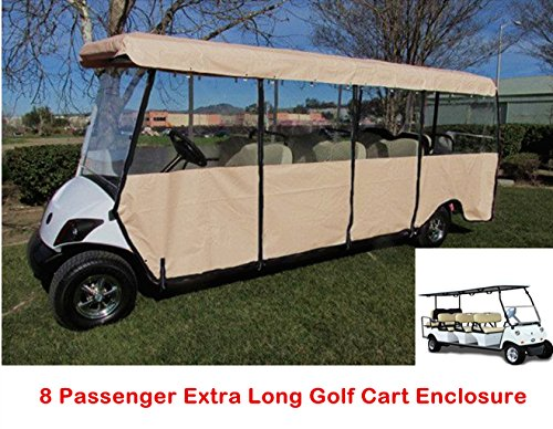 8 Passenger Golf Cart Enclosure, Deluxe 4-Sided Golf Car Cover for 8 Seater Club Car EZ Go Yamaha, Up to 172