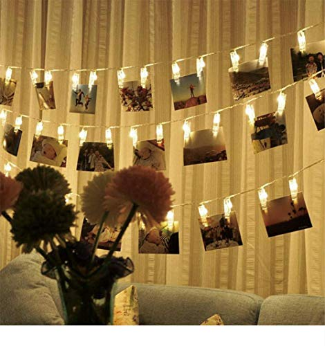 D Photo Clip String Lights, 13ft Battery Powered Warm White Indoor Fairy String Lights for Hanging Photos Pictures, Cards and Memos (30 LED) ()