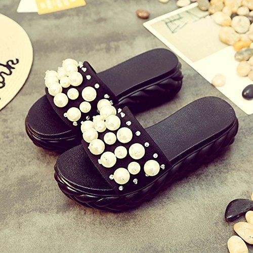 HBDLH Damen Schuhe/Fashion/Flat unten Cool Ziehen Sommer Slope Ferse Strand Wort Drag Strand Ferse Schuhe Dick unten Perlen Damen Schuhe. schwarz dfeeef