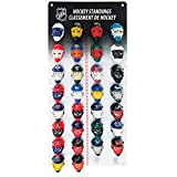 "Track the NHL standings throughout the regular season using the front of the 12"" by 12"" display board. Includes micro goalie masks for all 30 NHL teams. Packaged in a clamshell for maximum view of the product."