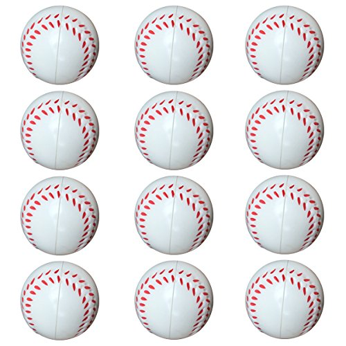 Small Sports Ball for Kids Party Favor 12 Pack Foam Stress Balls 2.5 INCH Baseball Squeeze Toy Ball (Baseball) by NOBBEE