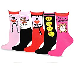 TeeHee Valentine's Day Love Women's Crew Socks 5-Pack (Fun With Love)