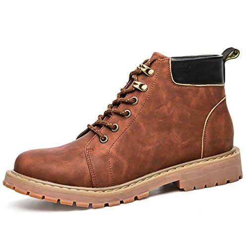 Taoffen Hommes Chaussures De Construction De Mode Hiver Bottes Chukka Rouge Brun