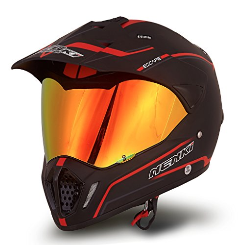 Dual Sport Helmet by NENKI Full Face Motocross & Motorcycle Helmets Dot Approved With Iridium Red Visor Attached Clear Visor NK-310 (M, 57-58CM Matt Black & Red)