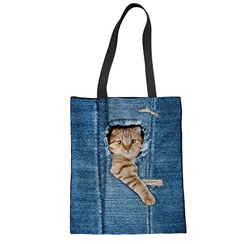 Girls Linen cat Shoulder Women Showudesigns Animal Bag Tote Blue Bag Denim 3 Hand 86Pnd4aq