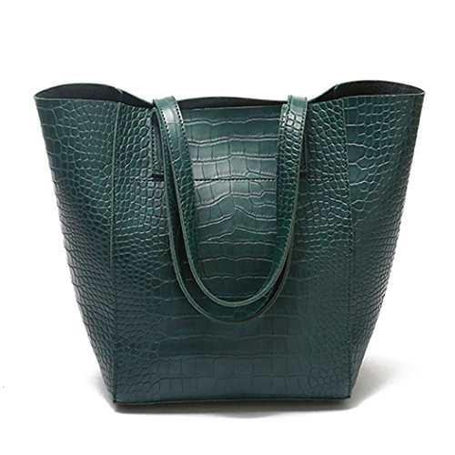 Crocodile Handbag Pattern Tote (Fanspack Women's PU Leather Tote Handbags Vintage Crocodile Pattern Top Handle Bag Crossbody Shoulder Bag Purses and Handbags)