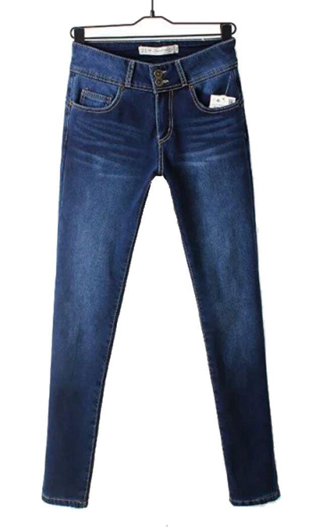 Women's Winter Skinny Fleece Lined 2 Buttons Pencil Jeans Dark Blue EU38