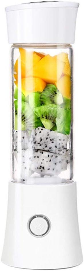 Mini Batidora De Vaso Exprimidor De Tamaño Personal, Con 6 Cuchillas 480ML Juicer Smoothie Maker USB Recargable Batidoras De Vaso Individuales Para Fruta, Verdura, Smoothies, Milkshake,Blanco