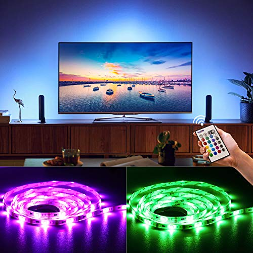 Bason USB LED TV Bias Lighting, Backlight for Flat HDTV,20 Color Options LED Strip Lights(16 Static Colors&4 Dynamic Modes)Sync Switch On/Off with TV Dimmable Remote -