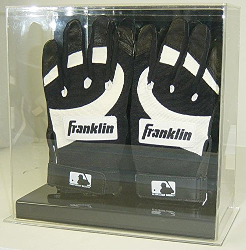 Batting Glove Case - Collectible Supplies Double Baseball Batting Gloves Display Case with Mirror