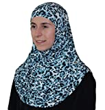 Firdevs Islamic Practical Two-piece Hijab Muslim Instant Headscarf Leopard Turquoise
