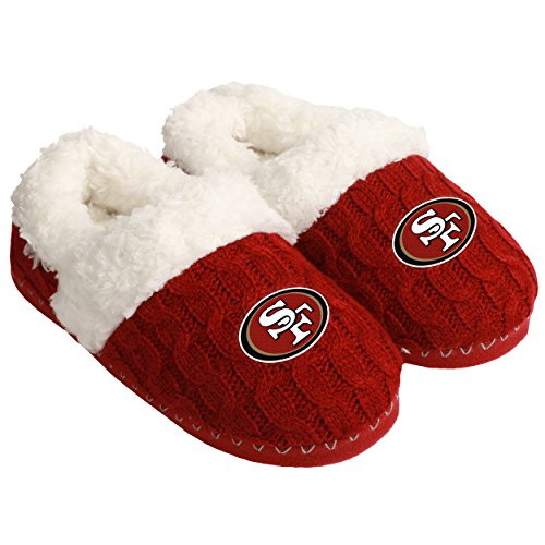 NFL Football Womens Team Logo Fur Moccasin Slippers Shoe - Pick Team (San Francisco 49ers, Medium)