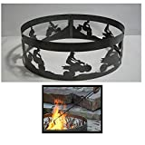 PD Metals Steel Campfire Fire Ring ATV Design - Unpainted - with Fire Poker - Medium 38 d x 12 h Plus Free eGuide