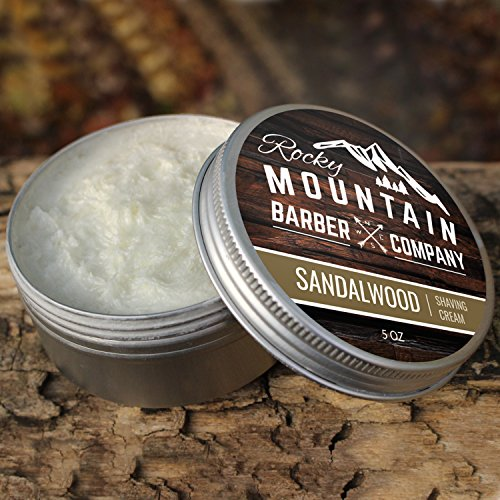 Shaving Cream for Men – With Natural Sandalwood Essential Oil – 5 oz Hydrating, Anti-inflammatory Rich & Thick Lather for Sensitive Skin & All Skin Types by Rocky Mountain Barber Company – 5 Ounce by Rocky Mountain Barber Company (Image #6)
