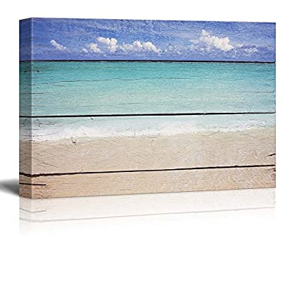 Tropical Beach on Vintage Wood Background, With a Professional Touch, Alluring Creative Design