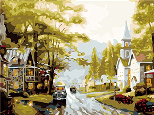 Shukqueen DIY Oil Painting, Adult's Paint by Number Kits, Acrylic Painting Beautiful Suburb 16X20 inch (Framed Canvas)