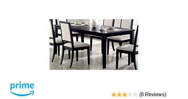 9bacf34ead154 Amazon.com - Louise Rectangular Dining Table with 18-inch Leaf Black - Table    Chair Sets