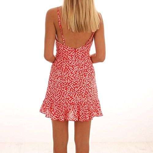 Vestidos Mujer Verano 2018,Las mujeres de verano vestido sin mangas de impresión de ropa casual playa vestido de fiesta LMMVP (Rojo, L): Amazon.es: Hogar