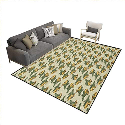 Christmas Rugs for Living Room Sketchy Bells in Pairs with Pine Leaves for Traditional Celebration Bath Mats for Floors Eggshell Yellow Green