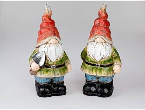 Juego de 2 figuras decorativas Enanos de jardín H. 55 cm Aspecto de Madera Formano F18: Amazon.es: Hogar