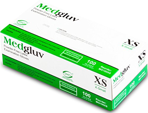 - Medglove | Latex Powder Free Exam Gloves | Full Textured | 6.5 mil | Low Protein | X-Small | 100 Gloves Per Box