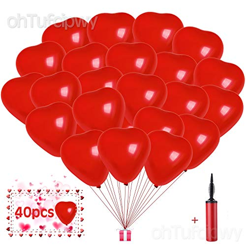 (Heart Shaped Balloons - 40 Pack 10 Inch Red Heart Latex Balloons - Happy Anniversary Balloons - Heart Decorations for Birthday, Wedding, Baby Shower, 4th of July, Back to School Party Decorations )