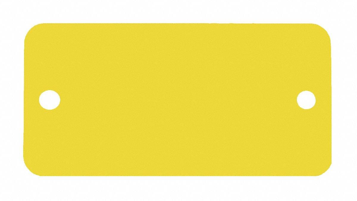 Yellow Blank Tag, Aluminum, Rectangle, 1'' Height, 5 PK