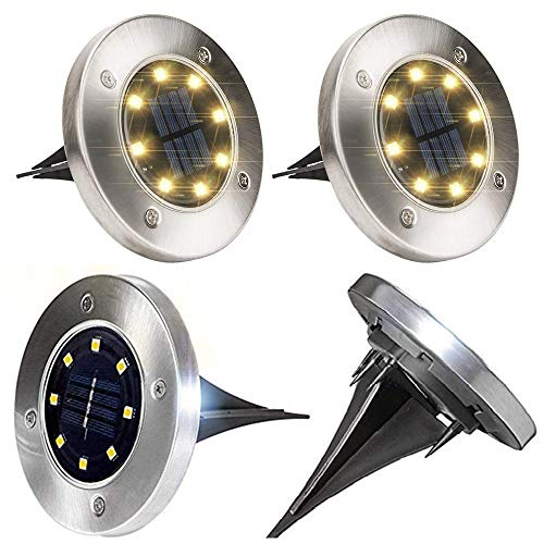 - Micvcky Solar Garden Lights, 8 LED Solar Outdoor Powered Waterproof Ground Disk Lights with Automatic Sensor Stainless Steel for Pathway Patio Lawn Yard Outdoor Fall Decorations (4 Pack Warm White)